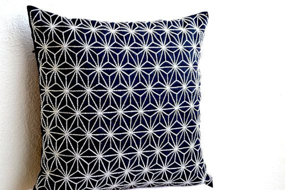Navy Blue throw pillow with silver embroidered hemp by AmoreBeaute