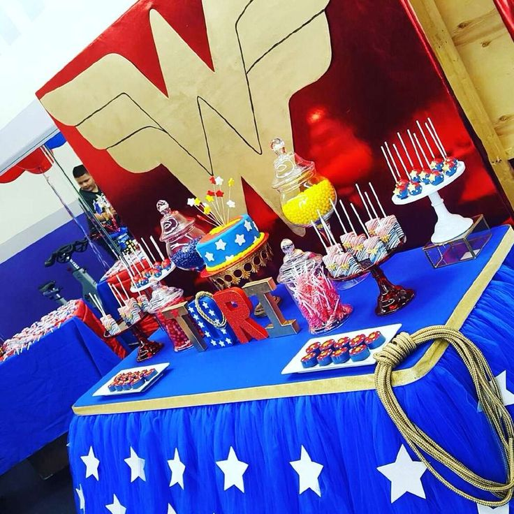 What a wonderful Wonder Woman birthday party! See more party ideas at CatchMyParty.com!