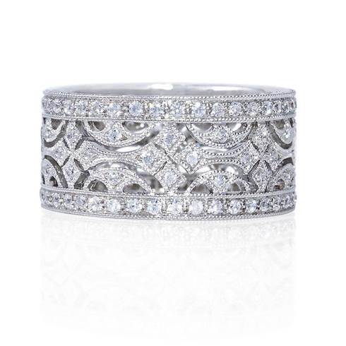 Beverley K wedding band at Greenwich Jewelers featuring a vintage-inspired design with pave diamonds and filigree. Click to see pricing & ordering info.