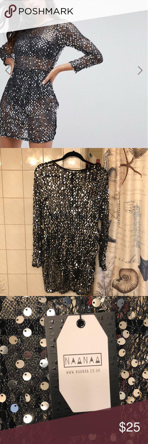 ASOS Sequin Dress w Satin Underlay Sexy, sequin sheer dress with satin underlay. Size 10. New with tags- didn't fit me 😔 Retail: $78 ASOS Dresses