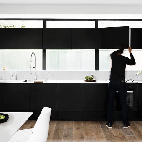 Andrew Street's astute kitchen planning conceals a generous pantry and fridge space, allowing a fluted glass splash back.  A collaboration with @milieuproperty  DKO architects