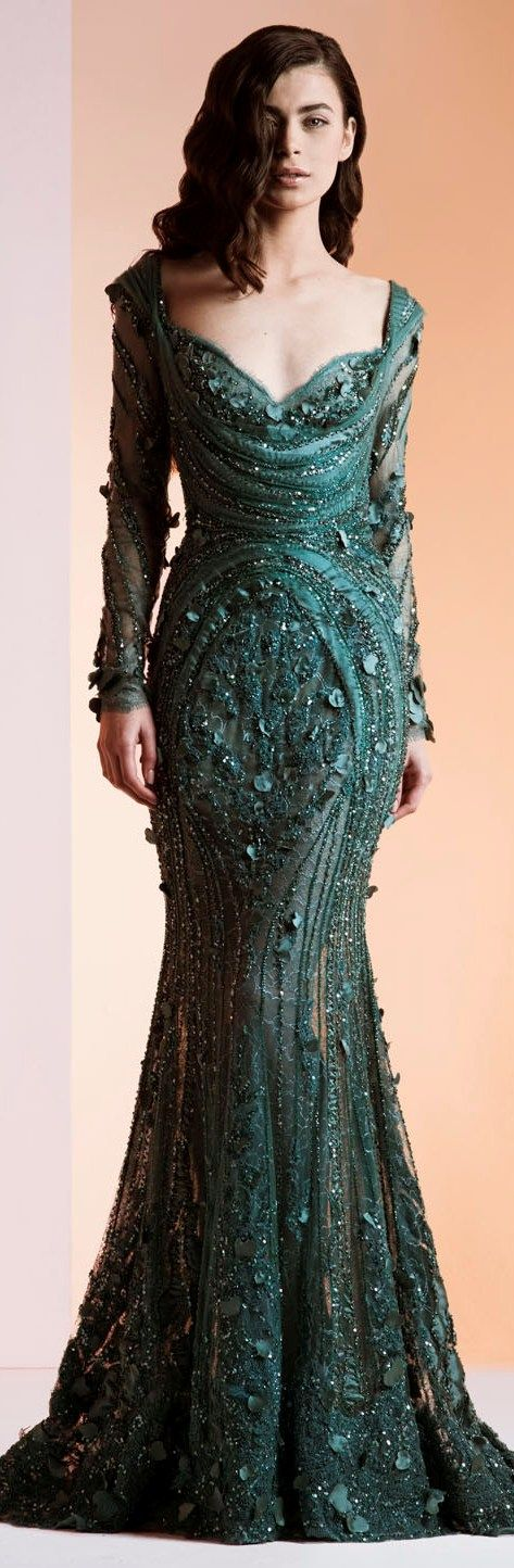 Ziad Nakad Haute Couture green Myrish lace gown that Esme would wear to show her Tyrell colours.