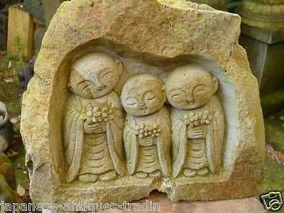 Jizo bosatsu. Japanese-THREE-Garden-Zen-Monk-Jizo-Buddha-Boddisatva-Statue-Stone-Sculpture