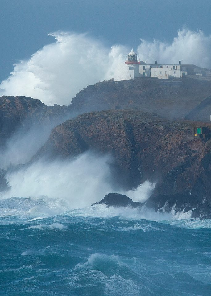 Eagle Island Lighthouse which is located about 1km off the coast of County Mayo. Huge seas and winds gusting to 120km/h