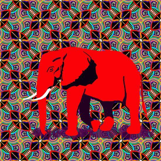 Koop 'Afrikaanse olifant solo' van Lida Bruinen voor aan de muur.