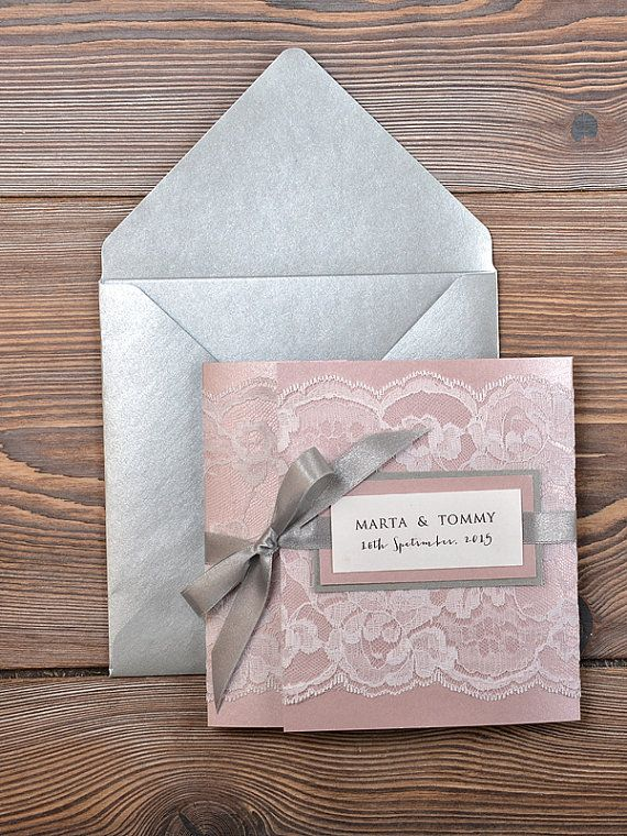 Grey and Pink Lace Wedding Invitation, Pocket Fold Wedding Invitations , Vintage Wedding invitation on Etsy, $7.40