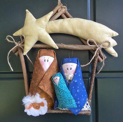 Natale - Ghirlanda casetta di legno con Presepe