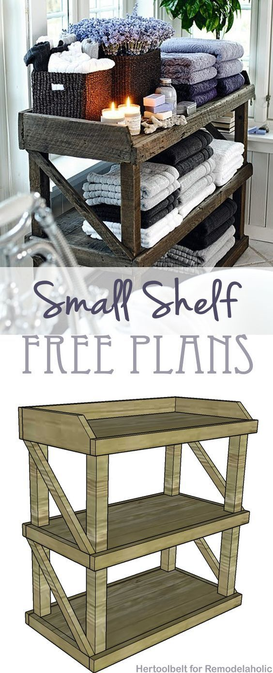 I am so builpoolk ding this! The plans look very simple... Now to find some reclaimed wood. Free DIY plans to build an easy and stylish small shelf on http://Remodelaholic.com