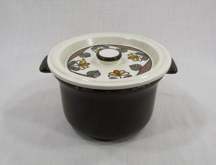 Flame Chef Brown Stoneware Bakeware Casserole Crock With Lid Japan by VintageEtcEtc on Etsy