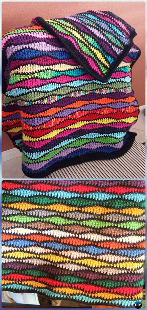 Crochet Scrumptious Scraps Afghan Blanket Free Pattern - Crochet Rainbow Blanket Free Patterns