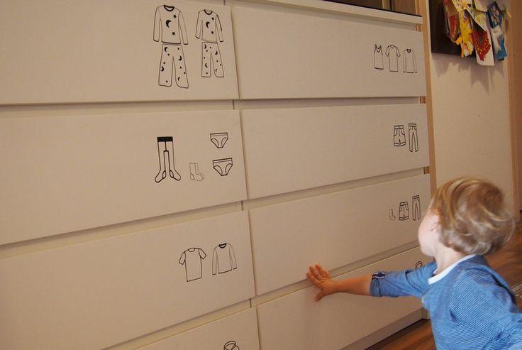 POPISKY na šuplíky s oblečením