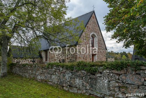Old church with trees, Finland, Aland Islands, Geta