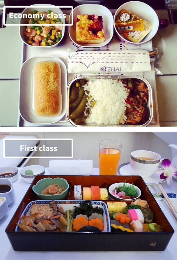 Airline Food: Economy Vs. First Class, Thai Airways