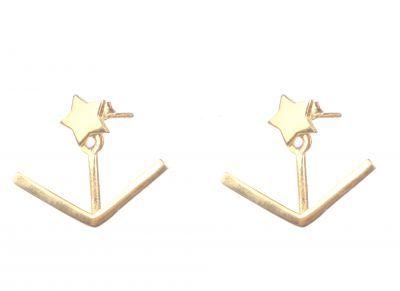 925 Ayar Gümüş V - Yıldız Ear jacket Küpe, Sarı