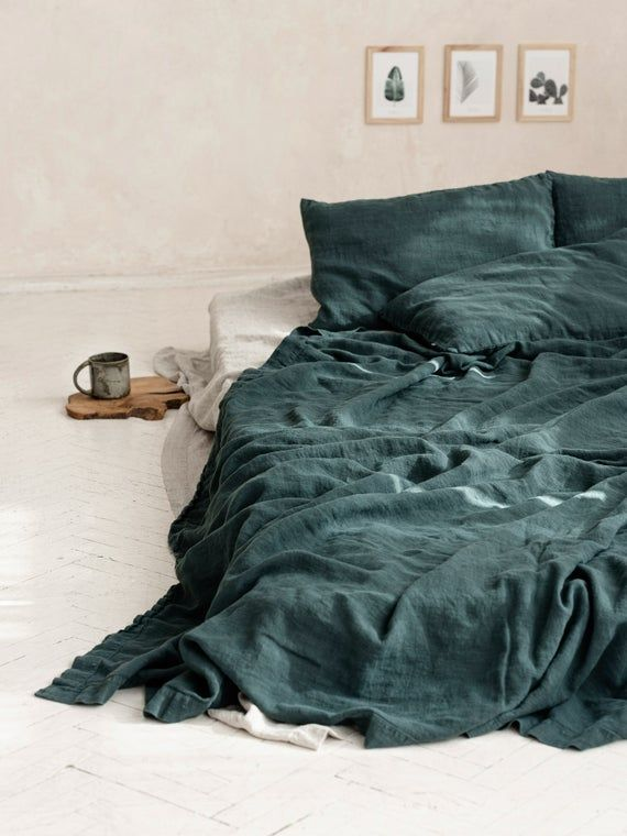 AU sizes  Stone Washed linen bedding Euro King Full Queen Linen flat sheet in White  Twin