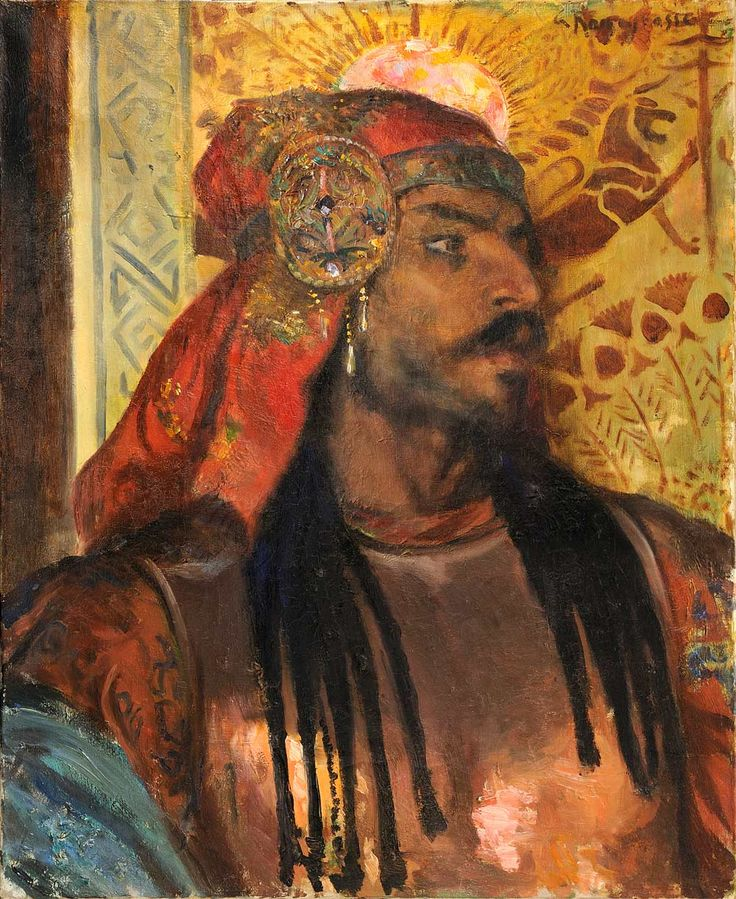 GeorgesRochegrosse (French, 1859-1938), Portrait head. Oil on canvas, 61 x 50cm.