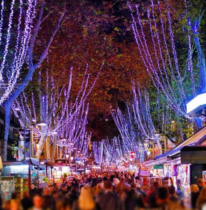Christmas vibes and lights in La Rambla Barcelona, Catalonia | Europe