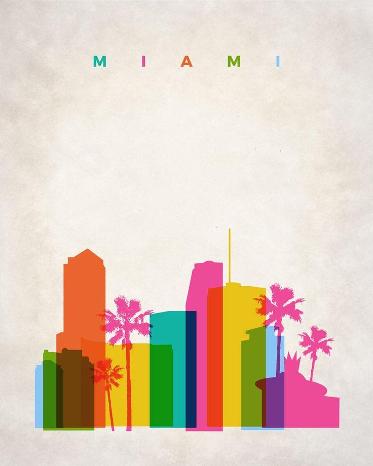 Miami Home Decor Wall Art, Miami Skyline, Miami Poster