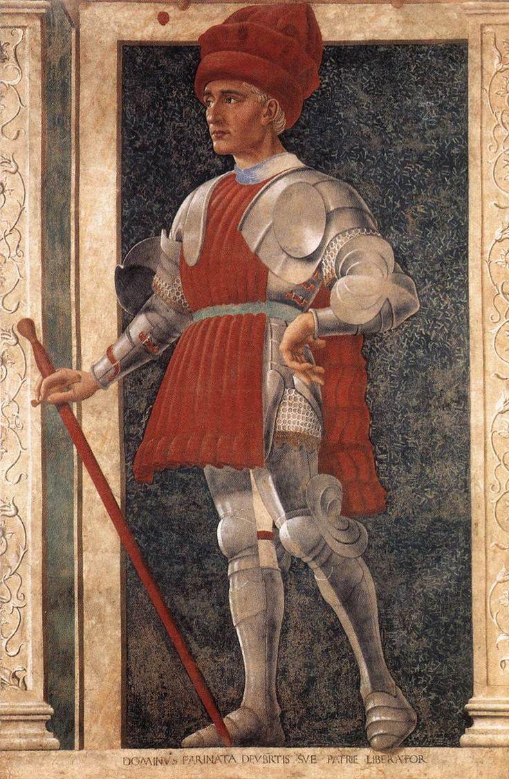 Portrait (posthumous) of Farinata degli Uberti, from Andrea del Castagno's Famous Persons frescoes, c. 1458-50, Italian (Florence). Uffizi, Florence.