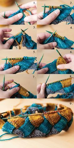 Entrelac Knitting tutorial...this is a great pattern , I have been using it for years.It esaly adapts to any yarn as olong as you cast on a multiple of 10 stitches.
