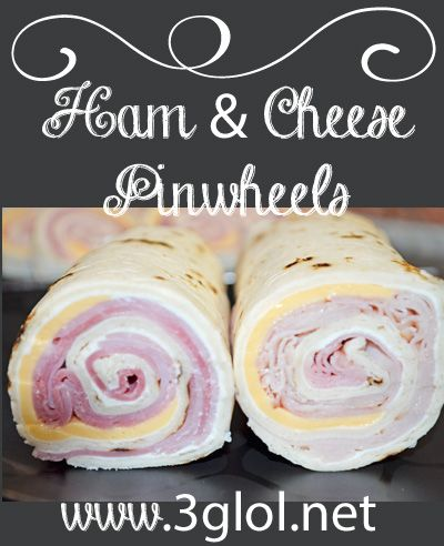 Ham & Cheese Pinwheels. Great for parties, family gathering, any type of get together. http://www.3glol.net