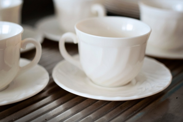 Vintage Arcopal France Ivory Trianon Cups and Saucers (Set of 5)
