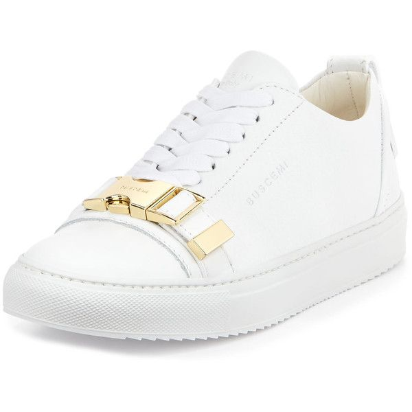 Buscemi Belted-Toe Leather Tennis Sneaker ($755) ❤ liked on Polyvore featuring shoes, sneakers, white, leather sneakers, white lace up sneakers, white shoes, tennis sneakers and platform sneakers