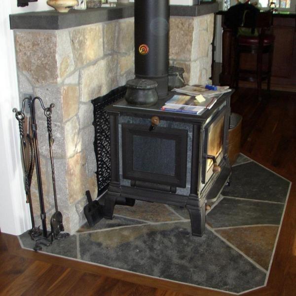 Wood Stove Brick Surround | Stove Wood Beam Fireplace Trim ...