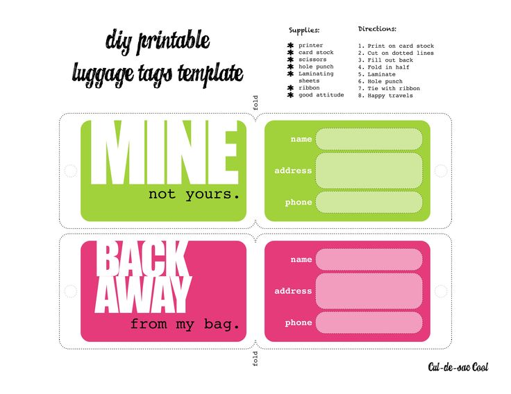 luggage tags template