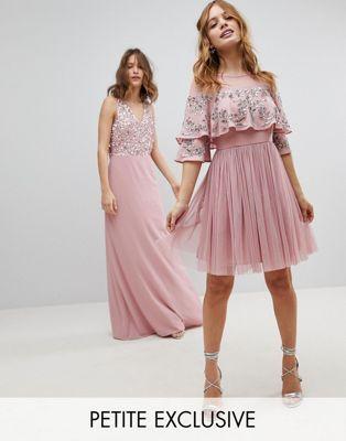 cd06d8e98f527 Maya Petite Sheer Detail Sequin Cape Overlay Detail Midi Dress | {style} | Sequin  cape, Embellished bridesmaid dress, Pink midi dress
