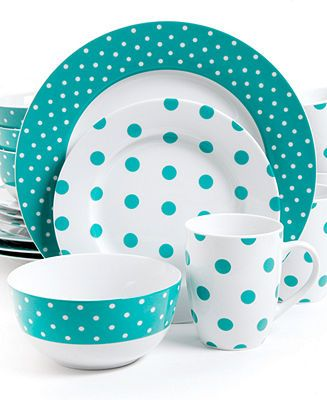 Isaac Mizrahi Polka Dot Teal 16-Piece Set - Casual Dinnerware - Dining & Entertaining - Macy's