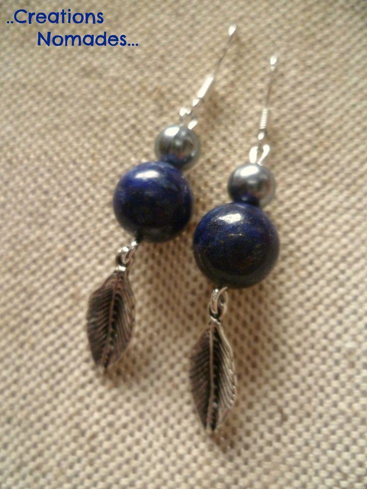 Bijoux fait mains Boucles d'oreille Pierres bleues