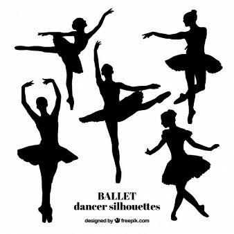 Fünf realistische Balletttänzer Silhouetten