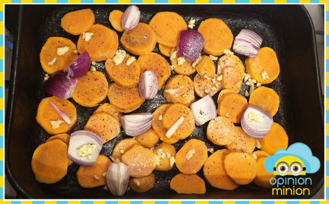 Vegetarian Slimming World - Roasted Garlic Sweet Potatoes and Red Onion