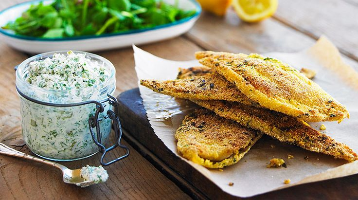 Yeo Valley's Polenta Crusted Plaice with Tartare Sauce Recipe