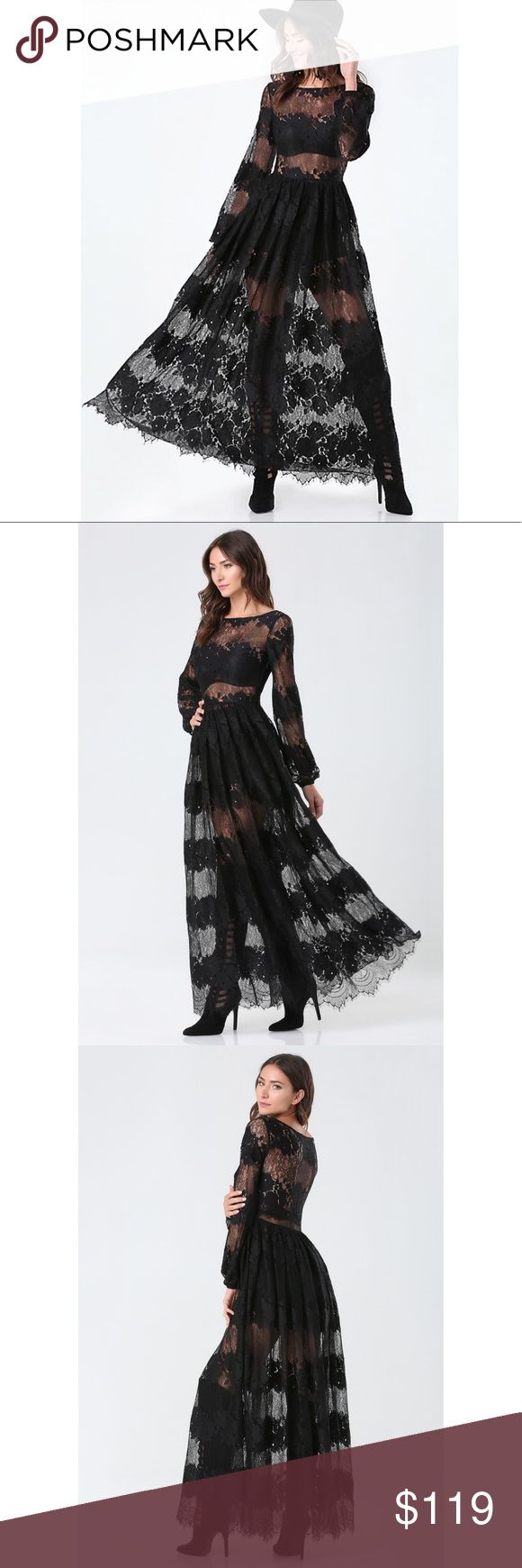 "BEBE LACE BLACK MAXI BOATNECK GOWN DRESS 0 XS $169 NWOT, size 0 (runs like XS), retailed for $169. I bought the same dress in size 2, so this has to find a new home. It comes with a pair of high-waisted shorts/underwear.   DETAILS 2d4. Beyond gorg sheer lace gown ruling the night with high-waist ponte underpanties that peek through. Long sleeves. Hidden side zip closure. 100% Nylon Machine wash Imported Center back to hem: 57"" (145 cm) Model is 5'9"" and wears a US size 6 bebe Dresses Maxi"