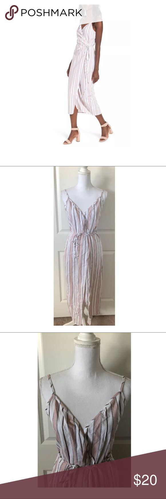 """$65 NEW WAYF for Nordstrom Wrap Midi Dress Stripe New without tags. Retails for $65 + Tax  Beautiful, wrap style midi Adjustable straps Full wrap style Pink white stripes  Size S  Measures approximately: total length 47""""  High end department store shelf pull- new without tags. May have had customer contact *Has a small open seam on the side- very minor. Easy repair if desired. Shown in photos. Otherwise excellent.   PLEASE ASK ANY QUESTIONS BEFORE PURCHASE, THANKS CHECK OUT MY OTHER DESIGNER…"""