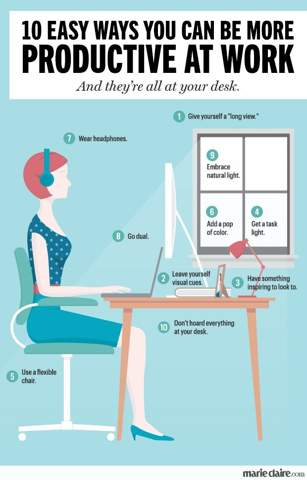 10 Easy Ways You Can Be More Productive at Work   MarieClaire.com <-- these work for WAH folks too!