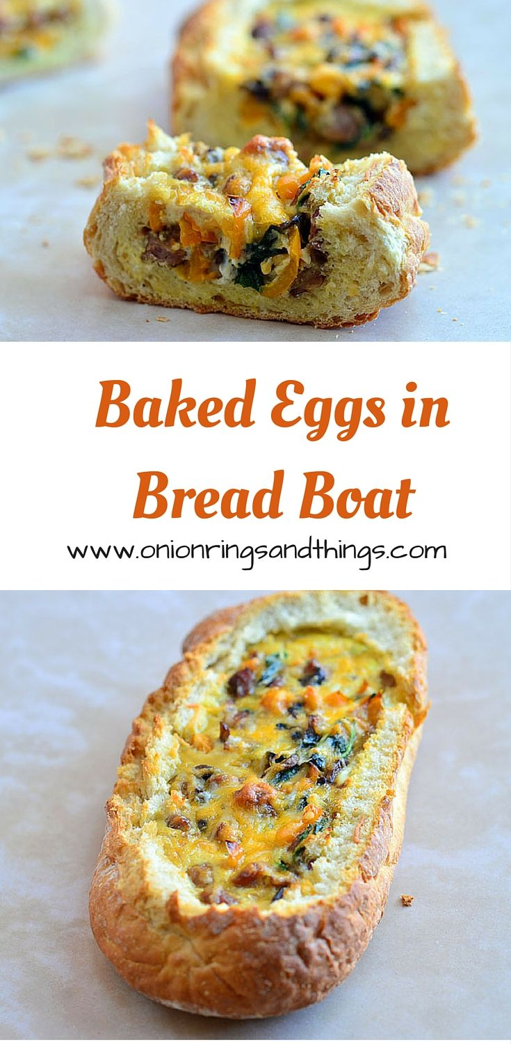 Baked Eggs in Bread Boat are hollowed out french loaves filled with sausage, vegetables and cheese and then baked until golden and bubbly via @lalainespins