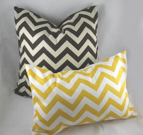yellow chevron pillows