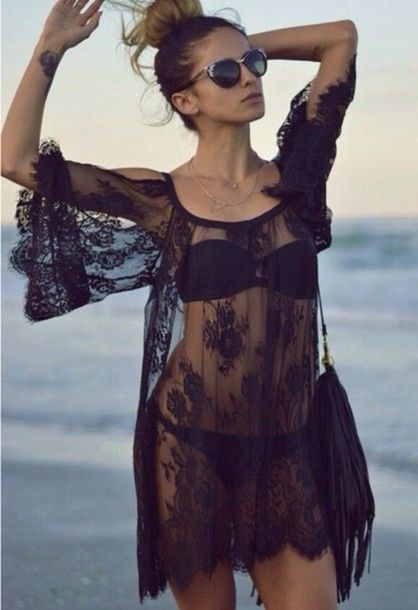 dress sheer lace black see through fashion cover up beach sheer dress bag