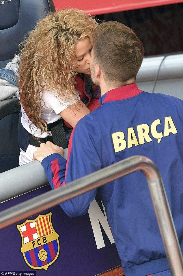 Buena suerte! Shakira gave her longtime love Gerard Pique a good luck kiss before he took ...