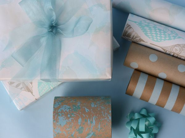Pretty wrapping papers in shades of blue