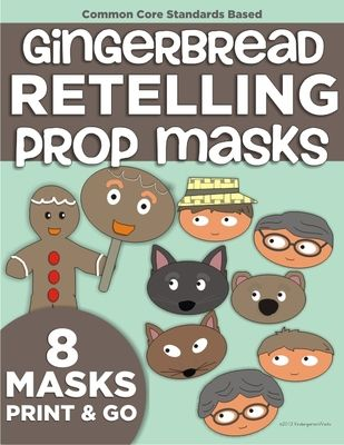 "The Gingerbread Man Retelling Props (Masks) from KindergartenWorks on TeachersNotebook.com -  (5 pages)  - Props/masks will allow you to accomplish retelling, sequencing, readers theater, developing ""book language"" and so much more!"