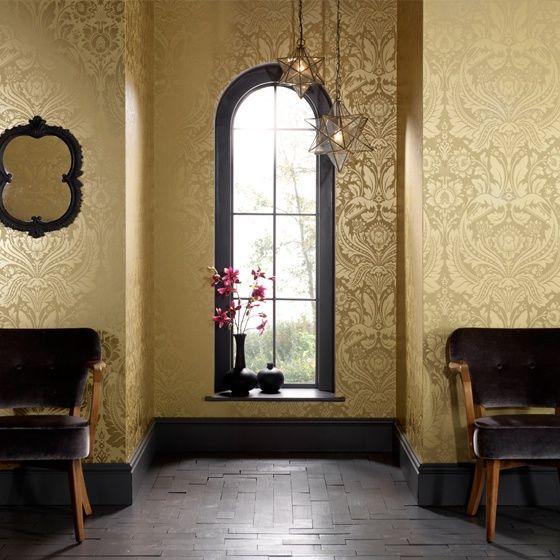barok goud creme damask behang XX3