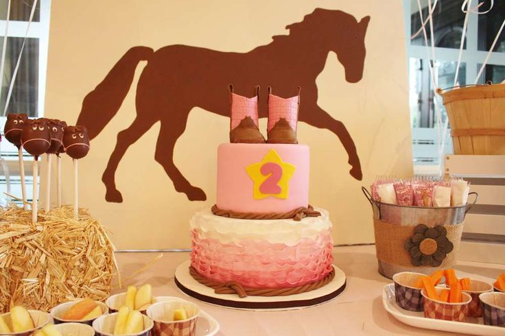 Amazing ruffle cake at a cowgirl birthday party! See more party ideas at CatchMyParty.com!