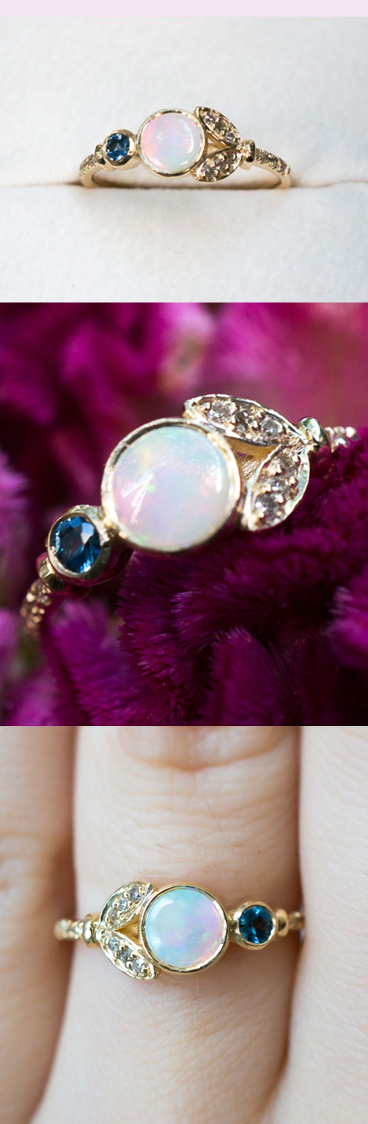 a dreamy Opal flower engagement ring with a sky blue Sapphire and vintage diamonds by S. Kind & Co.