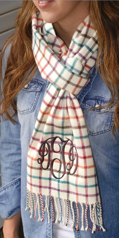 LOVE THIS!- Personalized Very Soft Cashmere Feel Scarves 7 Different Options To Choose From. $23.95, via Etsy.