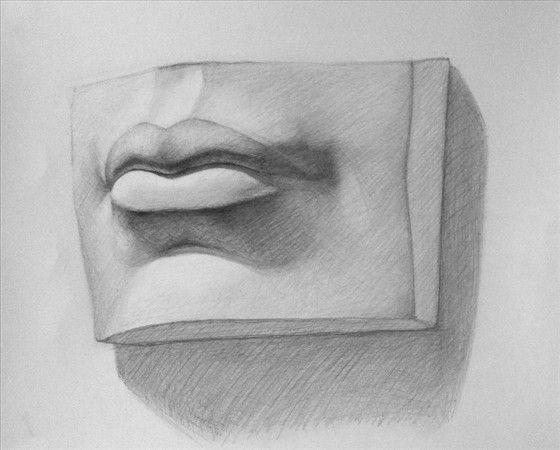 Mouth cast, Russian Academy, 30x50cm graphite http://marniesart.blogspot.com