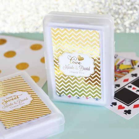 Personalized Metallic Foil Playing Card Wedding Favors with silver or gold foil stickers.